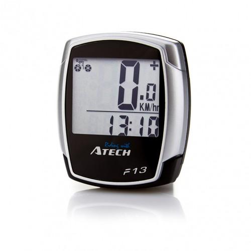 Велокомпьютер Atech 13 функций, проводной, черный / серый (TU13)