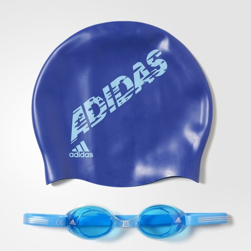 Очки для плавания и шапка Kids Pack AB6071 рис. Синий 49569 Adidas