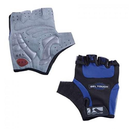 Велоперчатки M-Wave Gel, черный / синий (m-719935-blue)