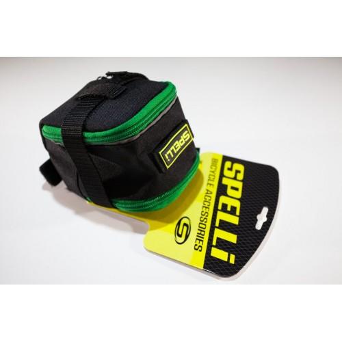 Сумка подседельная Spelli SSB-5041L черный / зеленый (SSB-5041L-green)