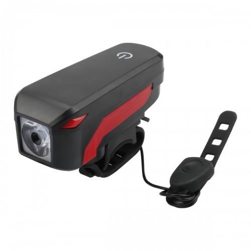 Фонарь BC-FL1552 Li-on 2000mAh, со звонком, USB на руль, черный-красный (LTSS-033)