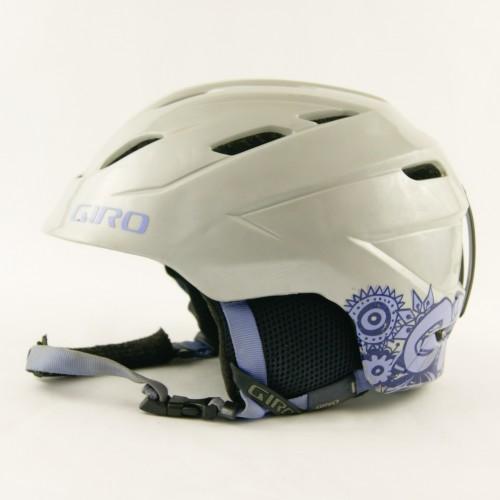 Горнолыжный шлем Giro серебристый с фиол.квитамы глянец (H-030)