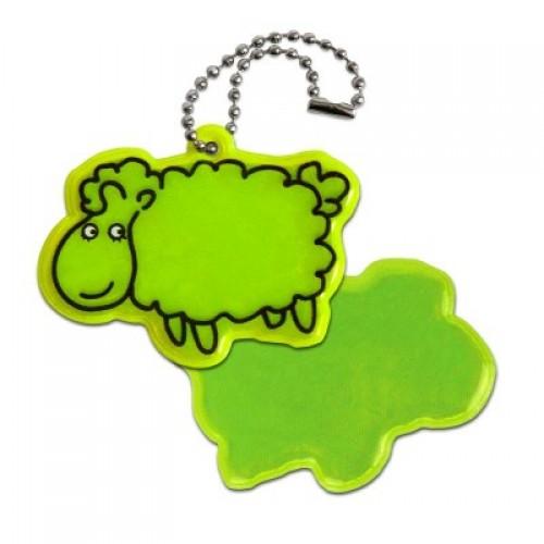 Кулон светоотражающий, овечка, зеленый (OSO028)