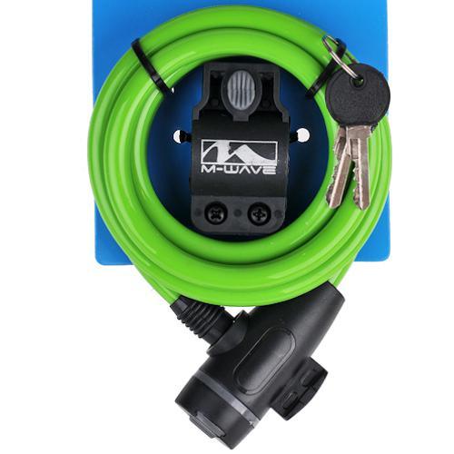 Замок велосипедный M-Wave под ключ 10 х 1800 мм зеленый (a-z-0096)