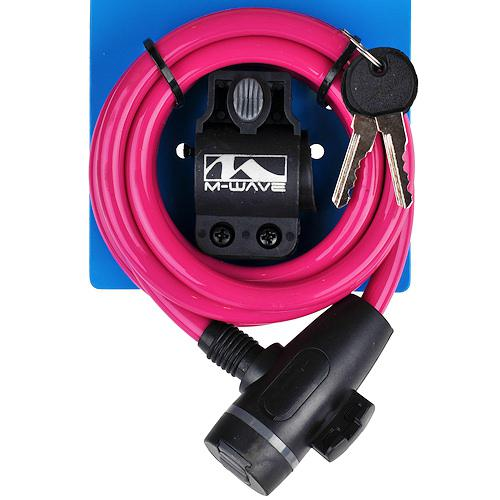 Замок велосипедный M-Wave под ключ 10 х 1800 мм розовый (a-z-0098)