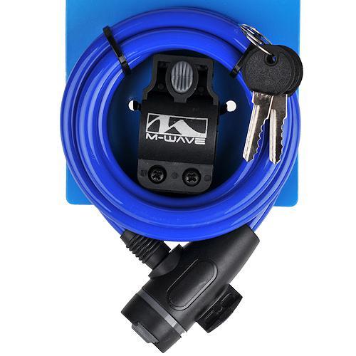 Замок велосипедный M-Wave под ключ 10 х 1800 мм синий (a-z-0101)