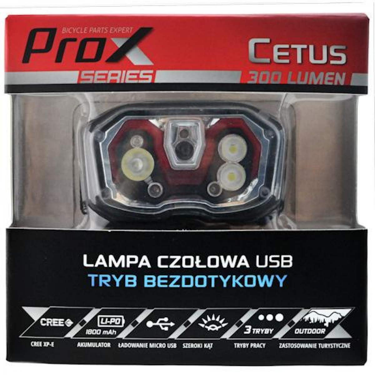 Налобный фонарик ProX Cetus 4Led, no touch, USB (a-O-b-p-0350)